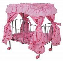 Кроватка для куклы с пологом на колесах (Melogo, 8892)