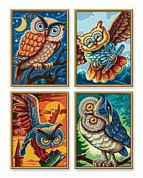 Раскраска по номерам - Совы мудрости. 4 картины (Schipper, 9340701)