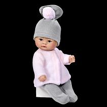 Кукла пупсик в серой шапочке, 20 см. (Asi, 114020)