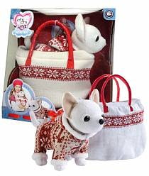 Игровой набор с плюшевой собачкой Зимний стиль в сумочке с заклёпками (Simba, 5894845)