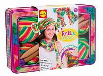 Набор для вязания спицами - Разноцветные шарф и шапочка (Alex Toys, 182T)