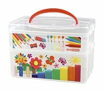 Коробка универсальная с ручкой и декором - ART BOX, 2 секции (Бытпласт, 43123920151sim)