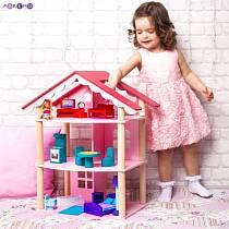 Трехэтажный домик для куклы с 14 предметами мебели - Роза Хутор (Paremo, PD215)