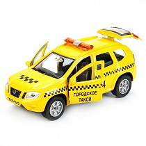 Металлическая инерционная машина Nissan Terrano - Такси, 12 см (Технопарк, SB-17-47-NT(T)-WBsim)